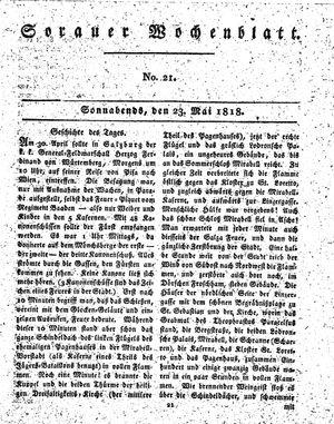 Sorauer Wochenblatt für Unterhaltung, Belehrung und Ereignisse der Gegenwart vom 23.05.1818