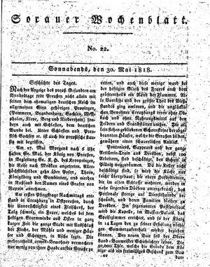 Sorauer Wochenblatt für Unterhaltung, Belehrung und Ereignisse der Gegenwart vom 30.05.1818