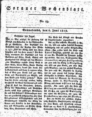 Sorauer Wochenblatt für Unterhaltung, Belehrung und Ereignisse der Gegenwart vom 06.06.1818