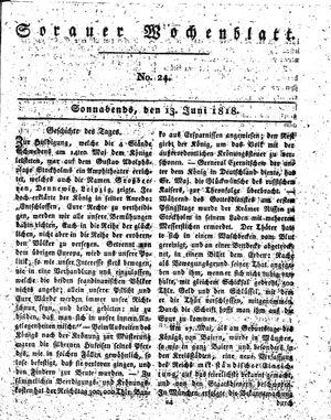 Sorauer Wochenblatt für Unterhaltung, Belehrung und Ereignisse der Gegenwart vom 13.06.1818