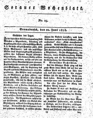 Sorauer Wochenblatt für Unterhaltung, Belehrung und Ereignisse der Gegenwart vom 20.06.1818