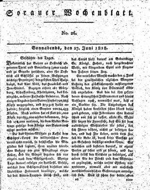 Sorauer Wochenblatt für Unterhaltung, Belehrung und Ereignisse der Gegenwart vom 27.06.1818