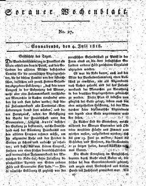 Sorauer Wochenblatt für Unterhaltung, Belehrung und Ereignisse der Gegenwart vom 04.07.1818
