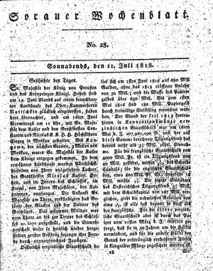 Sorauer Wochenblatt für Unterhaltung, Belehrung und Ereignisse der Gegenwart vom 11.07.1818