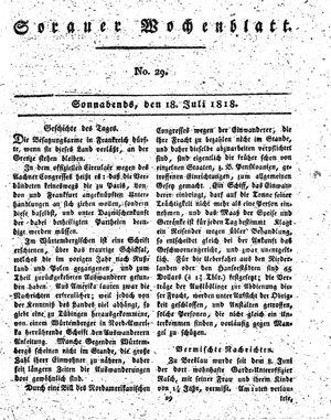 Sorauer Wochenblatt für Unterhaltung, Belehrung und Ereignisse der Gegenwart vom 18.07.1818