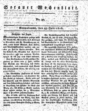 Sorauer Wochenblatt für Unterhaltung, Belehrung und Ereignisse der Gegenwart vom 25.07.1818