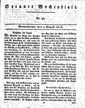 Sorauer Wochenblatt für Unterhaltung, Belehrung und Ereignisse der Gegenwart vom 01.08.1818
