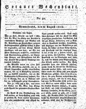 Sorauer Wochenblatt für Unterhaltung, Belehrung und Ereignisse der Gegenwart vom 08.08.1818