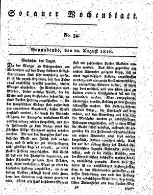 Sorauer Wochenblatt für Unterhaltung, Belehrung und Ereignisse der Gegenwart vom 22.08.1818