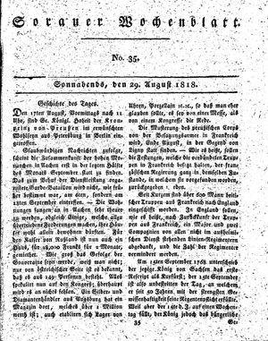 Sorauer Wochenblatt für Unterhaltung, Belehrung und Ereignisse der Gegenwart vom 29.08.1818