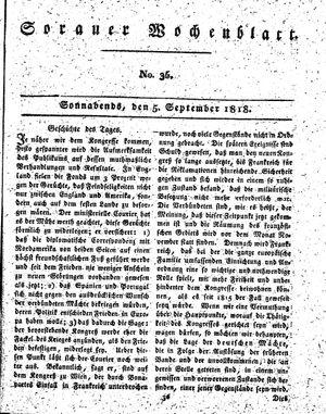 Sorauer Wochenblatt für Unterhaltung, Belehrung und Ereignisse der Gegenwart vom 05.09.1818