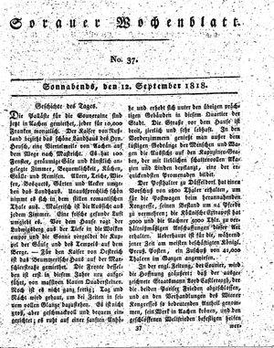 Sorauer Wochenblatt für Unterhaltung, Belehrung und Ereignisse der Gegenwart vom 12.09.1818