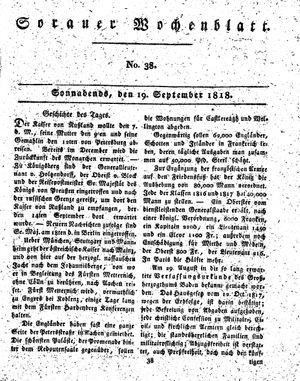 Sorauer Wochenblatt für Unterhaltung, Belehrung und Ereignisse der Gegenwart vom 19.09.1818