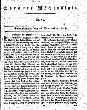 Sorauer Wochenblatt für Unterhaltung, Belehrung und Ereignisse der Gegenwart vom 26.09.1818