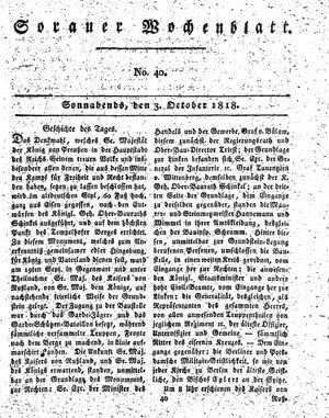 Sorauer Wochenblatt für Unterhaltung, Belehrung und Ereignisse der Gegenwart vom 03.10.1818