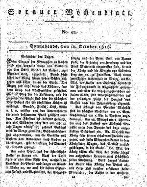 Sorauer Wochenblatt für Unterhaltung, Belehrung und Ereignisse der Gegenwart vom 10.10.1818