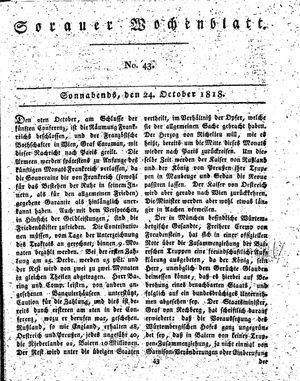 Sorauer Wochenblatt für Unterhaltung, Belehrung und Ereignisse der Gegenwart vom 24.10.1818