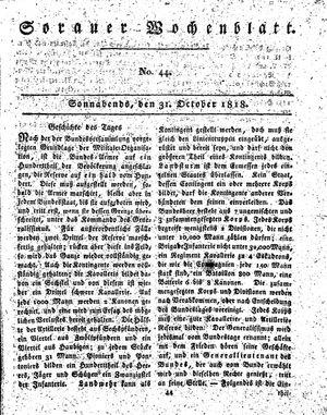 Sorauer Wochenblatt für Unterhaltung, Belehrung und Ereignisse der Gegenwart vom 31.10.1818