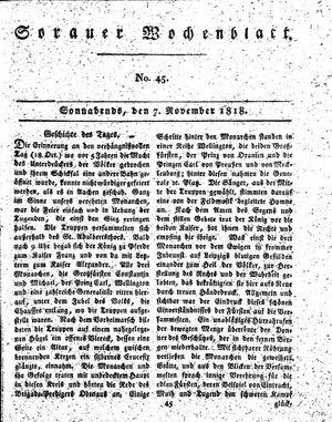 Sorauer Wochenblatt für Unterhaltung, Belehrung und Ereignisse der Gegenwart vom 07.11.1818