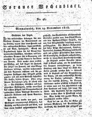 Sorauer Wochenblatt für Unterhaltung, Belehrung und Ereignisse der Gegenwart vom 14.11.1818