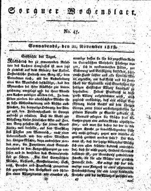 Sorauer Wochenblatt für Unterhaltung, Belehrung und Ereignisse der Gegenwart vom 21.11.1818
