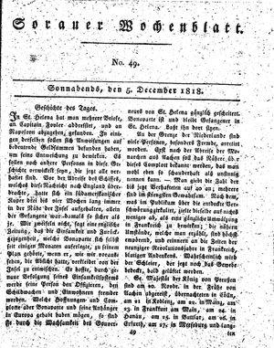 Sorauer Wochenblatt für Unterhaltung, Belehrung und Ereignisse der Gegenwart vom 05.12.1818