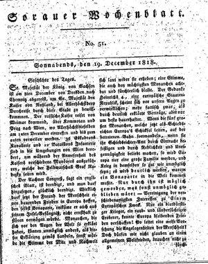 Sorauer Wochenblatt für Unterhaltung, Belehrung und Ereignisse der Gegenwart vom 19.12.1818