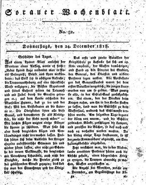 Sorauer Wochenblatt für Unterhaltung, Belehrung und Ereignisse der Gegenwart vom 24.12.1818
