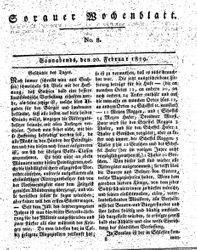 Sorauer Wochenblatt für Unterhaltung, Belehrung und Ereignisse der Gegenwart