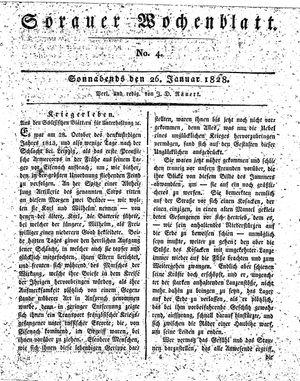 Sorauer Wochenblatt für Unterhaltung, Belehrung und Ereignisse der Gegenwart vom 26.01.1828