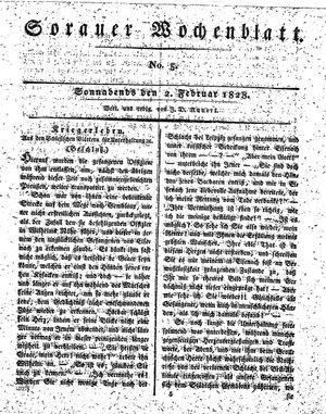 Sorauer Wochenblatt für Unterhaltung, Belehrung und Ereignisse der Gegenwart vom 02.02.1828
