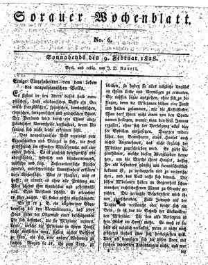 Sorauer Wochenblatt für Unterhaltung, Belehrung und Ereignisse der Gegenwart vom 09.02.1828