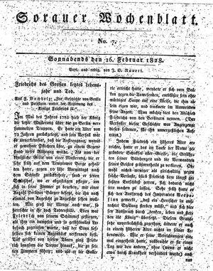 Sorauer Wochenblatt für Unterhaltung, Belehrung und Ereignisse der Gegenwart vom 16.02.1828