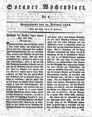 Sorauer Wochenblatt für Unterhaltung, Belehrung und Ereignisse der Gegenwart vom 23.02.1828