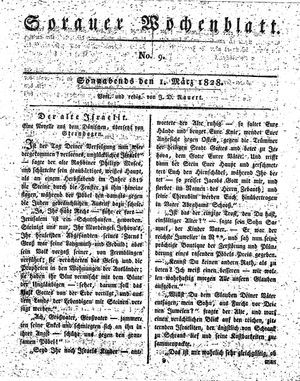 Sorauer Wochenblatt für Unterhaltung, Belehrung und Ereignisse der Gegenwart vom 01.03.1828
