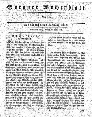 Sorauer Wochenblatt für Unterhaltung, Belehrung und Ereignisse der Gegenwart vom 08.03.1828