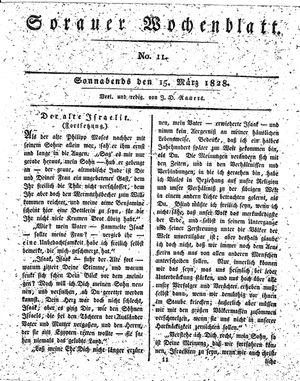 Sorauer Wochenblatt für Unterhaltung, Belehrung und Ereignisse der Gegenwart vom 15.03.1828