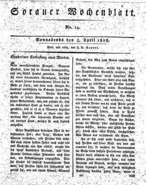 Sorauer Wochenblatt für Unterhaltung, Belehrung und Ereignisse der Gegenwart vom 05.04.1828