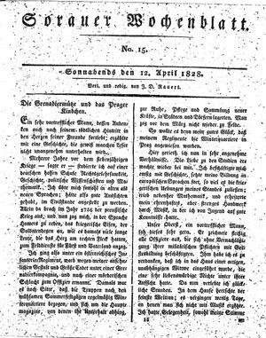 Sorauer Wochenblatt für Unterhaltung, Belehrung und Ereignisse der Gegenwart vom 12.04.1828