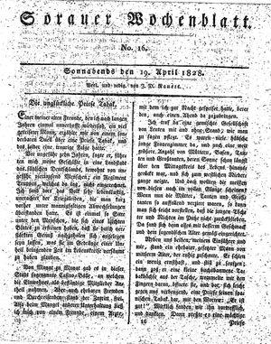 Sorauer Wochenblatt für Unterhaltung, Belehrung und Ereignisse der Gegenwart vom 19.04.1828