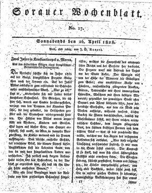 Sorauer Wochenblatt für Unterhaltung, Belehrung und Ereignisse der Gegenwart vom 26.04.1828