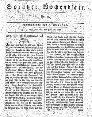 Sorauer Wochenblatt für Unterhaltung, Belehrung und Ereignisse der Gegenwart vom 03.05.1828