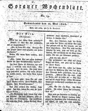 Sorauer Wochenblatt für Unterhaltung, Belehrung und Ereignisse der Gegenwart vom 10.05.1828