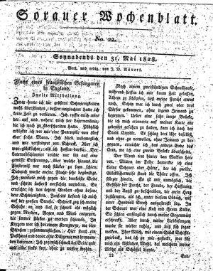 Sorauer Wochenblatt für Unterhaltung, Belehrung und Ereignisse der Gegenwart vom 31.05.1828