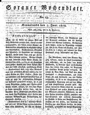 Sorauer Wochenblatt für Unterhaltung, Belehrung und Ereignisse der Gegenwart vom 07.06.1828