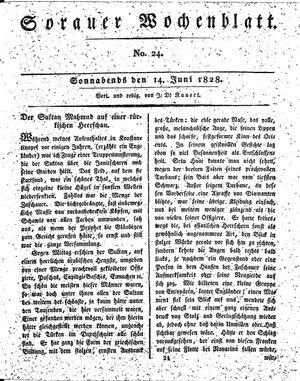 Sorauer Wochenblatt für Unterhaltung, Belehrung und Ereignisse der Gegenwart vom 14.06.1828