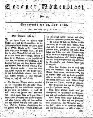 Sorauer Wochenblatt für Unterhaltung, Belehrung und Ereignisse der Gegenwart vom 21.06.1828