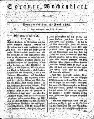 Sorauer Wochenblatt für Unterhaltung, Belehrung und Ereignisse der Gegenwart on Jun 28, 1828
