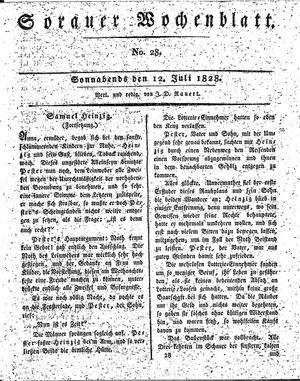 Sorauer Wochenblatt für Unterhaltung, Belehrung und Ereignisse der Gegenwart vom 12.07.1828