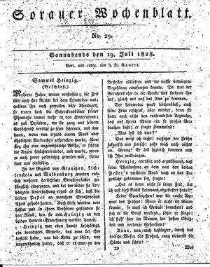 Sorauer Wochenblatt für Unterhaltung, Belehrung und Ereignisse der Gegenwart vom 19.07.1828